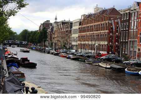 Holland Canals In Amsterdam And Architecture
