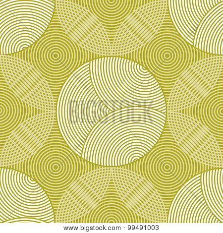 Seamless Pattern Of Circles And Rings In Green And White Colors