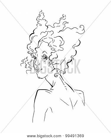 Hand made vector sketch of african woman.