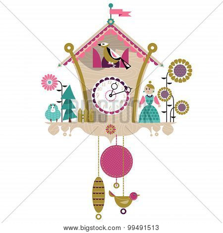 Cuckoo Clock With Toy. Retro Style.