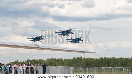 Russian Knights Aerobatic Team At Air Show