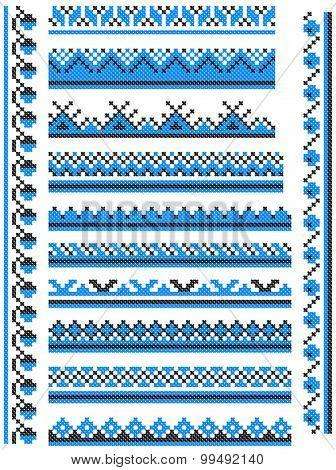 12 seamless embroidered good like handmade cross-stitch ethnic Ukraine pattern