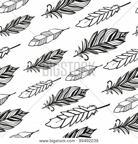 Seamless pattern. Hand drawn bird black feathers.
