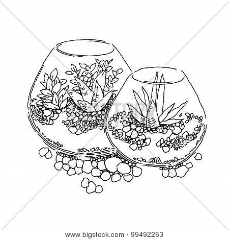 Elements of garden design. Lineart vector sketch.