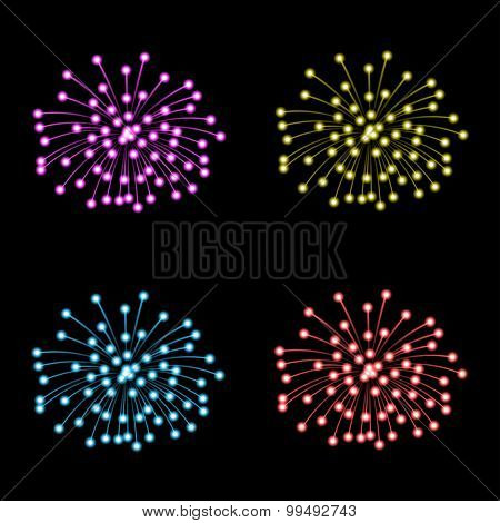 Set of fireworks on black background. Illustration, Vector EPS10