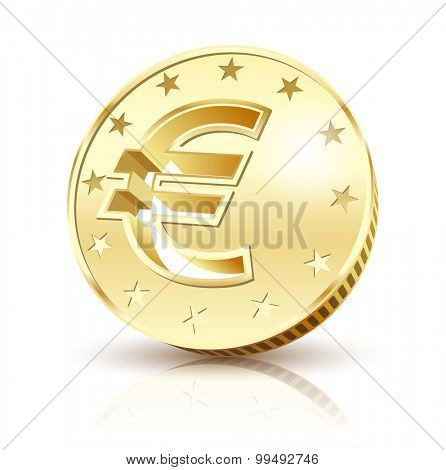 Coin Golden Euro isolated on a white background. Illustration Vector EPS10.