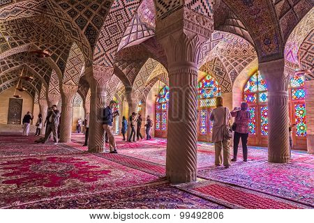 Tourists in the Pink Mosque in Shiraz