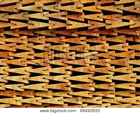 Wooden Shingles Stacked On Each Other