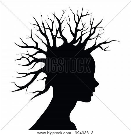Head silouete with  tree as hair