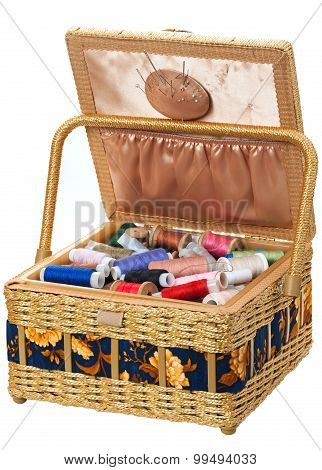 box with accessories for sewing