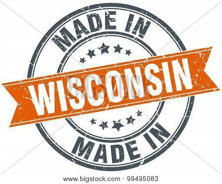 Wisconsin Orange Grunge Ribbon Stamp On White
