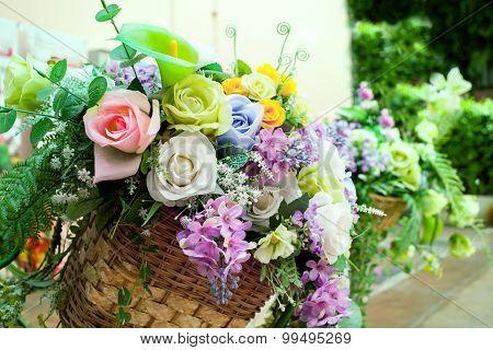 Flowers Bouquet Arrange For Decoration In Home Garden