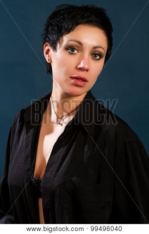 Girl In A Black Man's Shirt