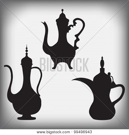 a jug of old Arabic, Arabic coffee pots