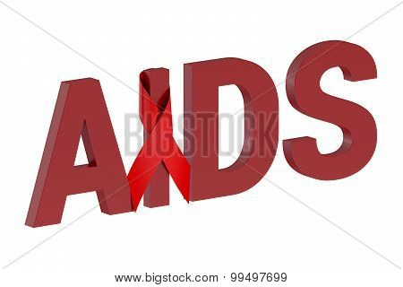 Aids Concept With Red Ribbon