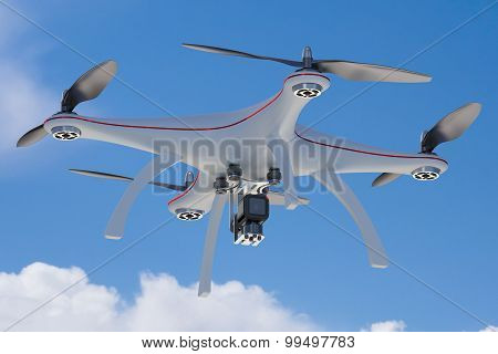 White Drone Flying In Blue Sky