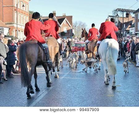 Tenterden, England - Dec 26th 2014: Annual Fox hunt meet on High street