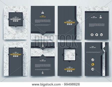 Set of vector brochures with doodles backgrounds on Veterinary theme.