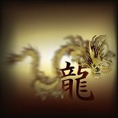 Постер, плакат: Golden Chinese Dragon Closeup Background With Dragon Hieroglyph