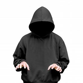 picture of hoodie  - Man in hoodie typing something isolated over white background - JPG