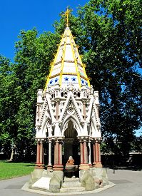 image of slavery  - The Buxton Memorial standing in Victoria Tower Gardens next to the Houses of Parliament - JPG