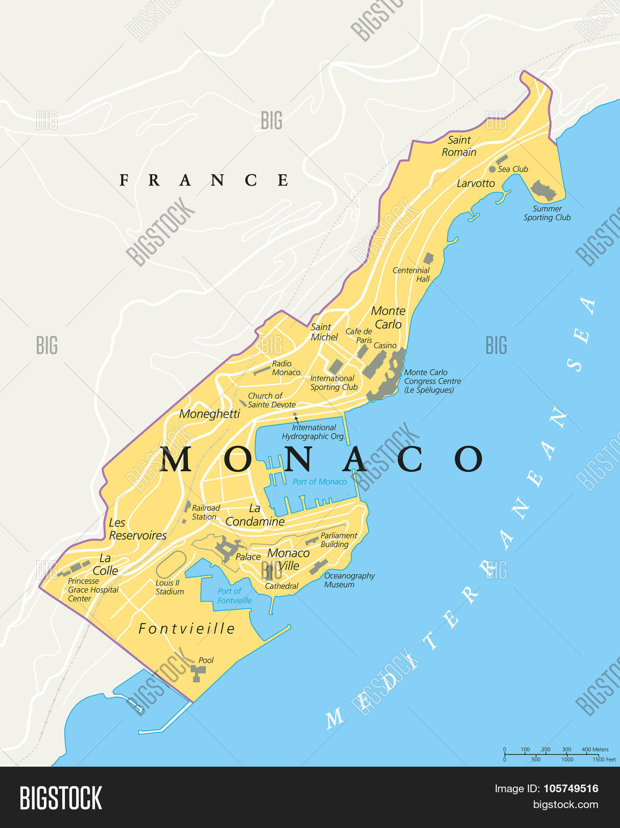 monaco political map vector  photo  bigstock - monaco political map