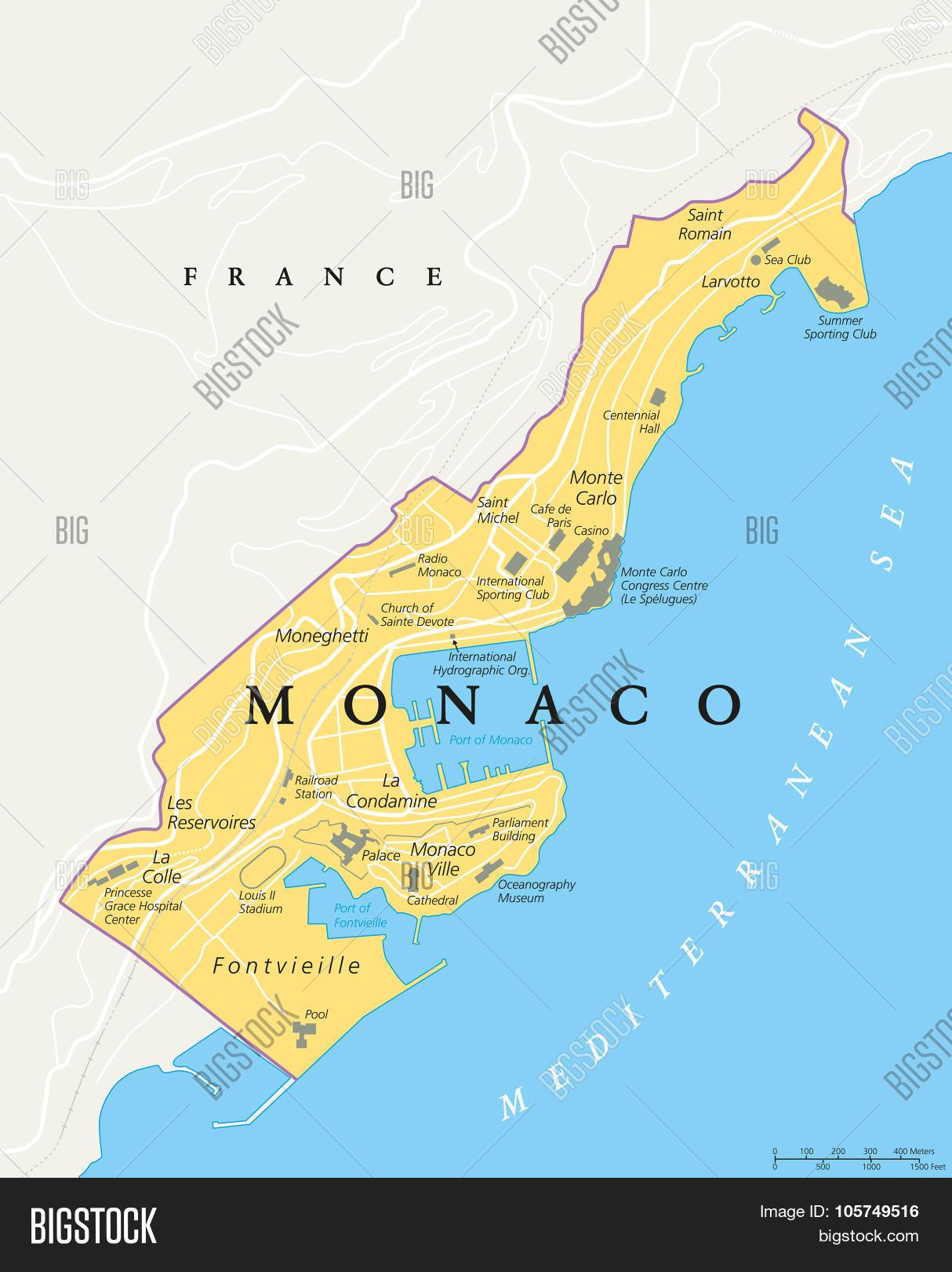 monaco political map vector  photo  bigstock - monaco political map