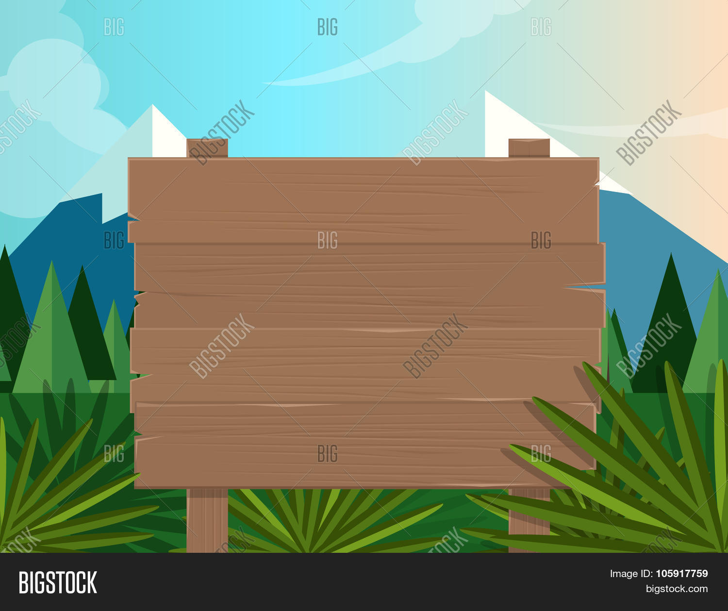 Board Sign Wooden Forest Jungle Vector & Photo   Bigstock