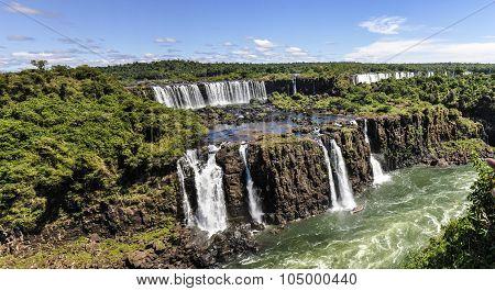 View Of The Falls At Iguazu Falls,  Brazil
