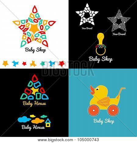 Set  baby shop logo and emblems.