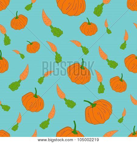 Pumpkin and carrot seamless pattern vector