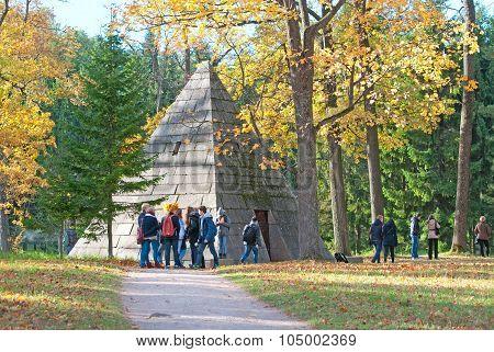 Tsarskoye Selo (Pushkin). Saint-Petersburg. Russia. The Pyramid Pavilion in the Catherine Park