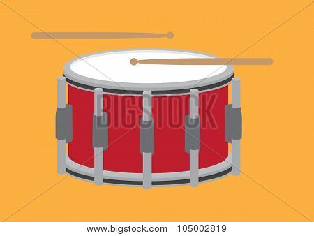 Drum And Drum Sticks Cartoon Vector Illustration