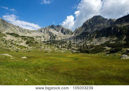 Amazing panorama of The Tooth and Yalovarnika peaks in Pirin Mountain