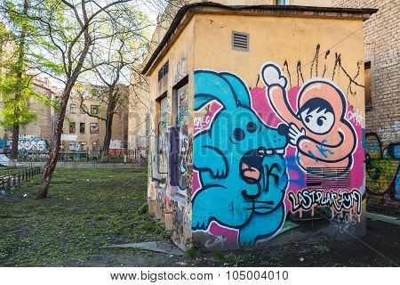 Street Art, Urban Wall With Cartoon Graffiti