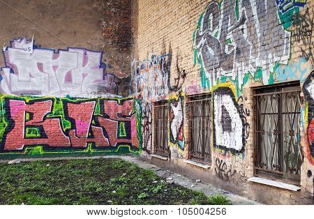 Street Art, Walls With Colorful Graffiti