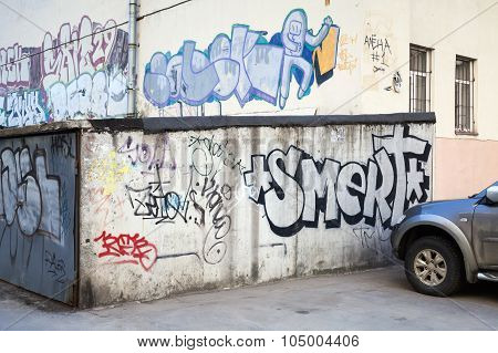Street Art, Old Garages With Grungy Graffiti