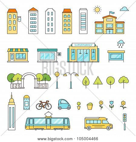 City Buildings, Transport, Trees, Shops Colored Vector Set. Outline Illustration Generator Kit