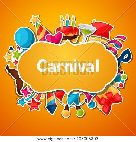 Carnival show and party greeting card with celebration stickers