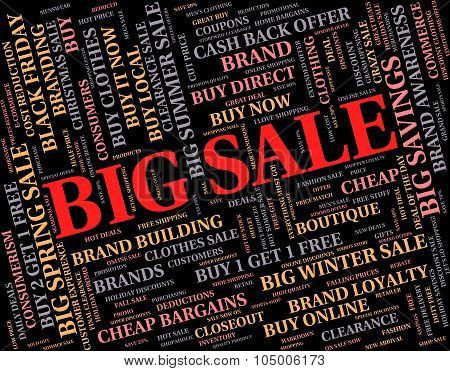 Big Sale Indicates Save Promo And Bargain