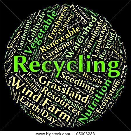 Recycling Word Shows Eco Friendly And Environmentally