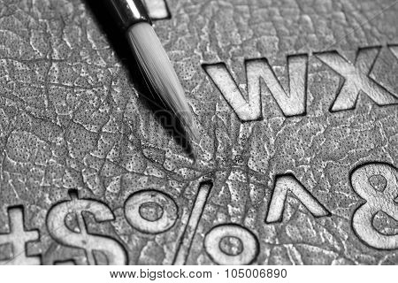 Leather Surface And Brush In Black And White