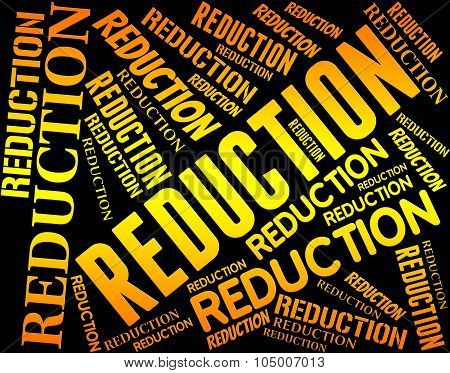 Reduction Word Indicates Less Sale And Promo