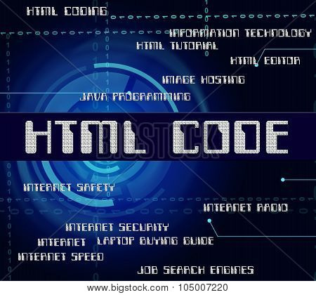 Html Code Shows Hypertext Markup Language And Cipher