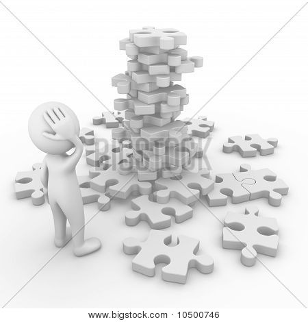 Man facing a puzzle mountain