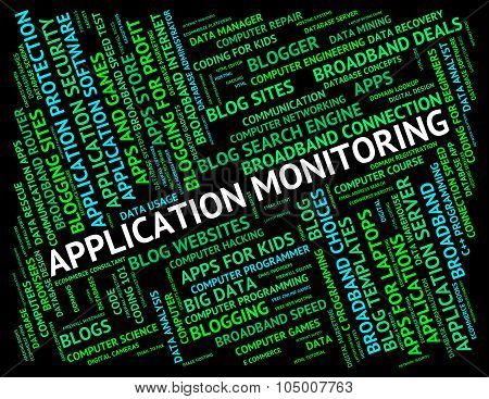 Application Monitoring Represents Program Monitors And Words