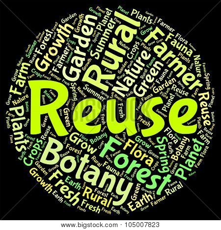 Reuse Word Shows Go Green And Recycled