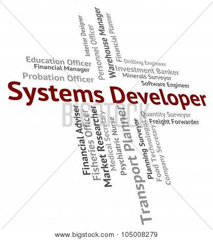 Systems Developer Indicates Work Words And Career