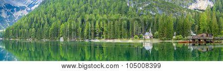 Braies Lake in Dolomites mountains, Sudtirol, Italy