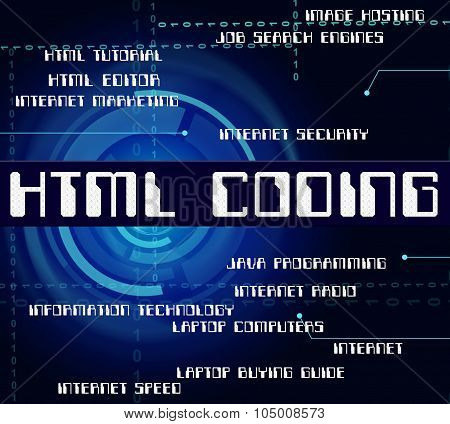 Html Coding Represents Hypertext Markup Language And Cipher